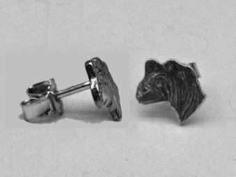 Chinese Crested Dog örhänge huvud par - Silver