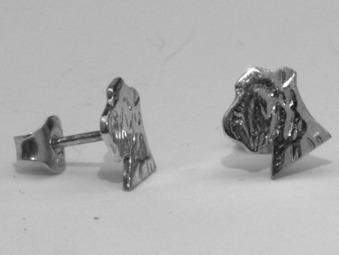 Dvärgschnauzer örhänge huvud - Silver