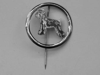 Dvärgschnauzer nål med cirkel - Silver