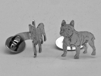 Fransk Bulldogg manschettknappar par - Silver