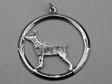 Dvärgpinscher hängsmycke med cirkel silver
