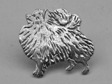 Pomeranian pin silver