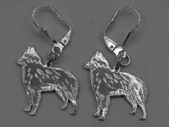 Belgisk Vallhund örhänge par - Silver