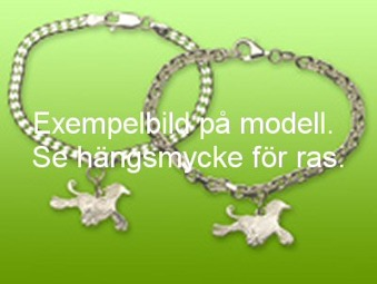 Chinese Crested Powder Puff hängsmycke till armband - Silver
