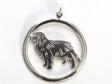 Cavalier King Charles Spaniel hängsmycke med cirkel silver