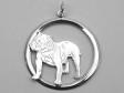 Engelsk Bulldogg hängsmycke med cirkel silver