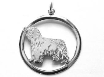 Bearded Collie hängsmycke med cirkel - Silver
