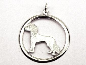 Chinese Crested Dog hängsmycke med cirkel - Silver
