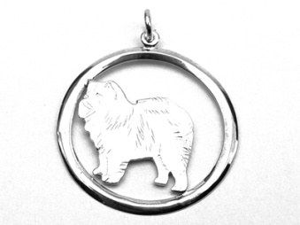 Chow Chow hängsmycke med cirkel - Silver