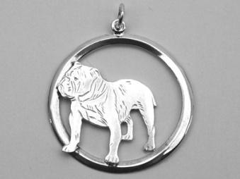 Engelsk Bulldogg hängsmycke med cirkel - Silver