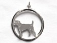 Jack Russell Terrier (Parson) hängsmycke med cirkel silver