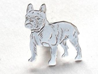 Fransk Bulldogg pin - Silver