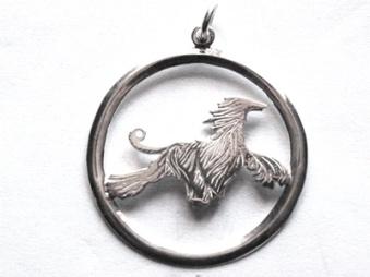 Afghan hängsmycke med cirkel - Silver