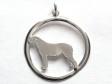 Irländsk Varghund hängsmycke med cirkel silver