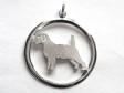 Jack Russell Terrier hängsmycke med cirkel silver
