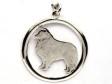 Shetland Sheepdog (Sheltie) hängsmycke med cirkel silver