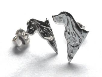 Amerikansk Cocker Spaniel örhänge huvud par - Silver