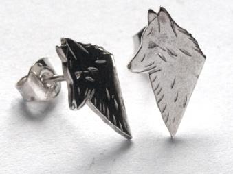 Belgisk Vallhund örhänge huvud par - Silver