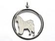 Alaskan Malamute hängsmycke med cirkel silver