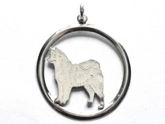 Alaskan Malamute hängsmycke med cirkel - Silver