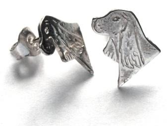 Cocker Spaniel örhänge huvud par - Silver Old