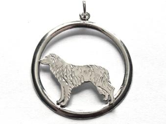 Border Collie hängsmycke med cirkel - Silver