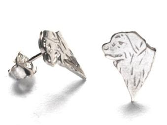 Berner Sennenhund örhänge huvud par - Silver