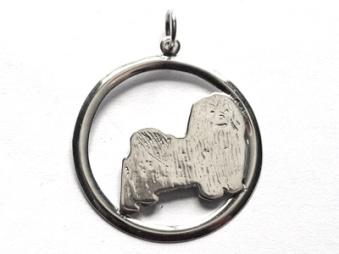 Bichon Havanais hängsmycke med cirkel - Silver