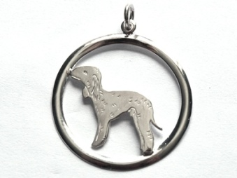 Bedlingtonterrier hängsmycke med cirkel - Silver