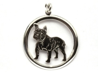 Fransk Bulldogg hängsmycke med cirkel - Silver