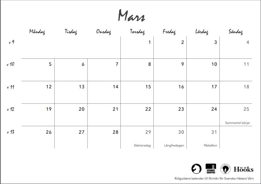 ridguidens kalender 2018, sid 9