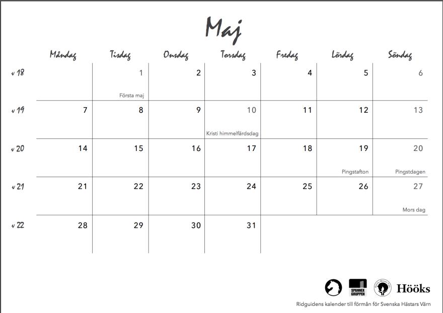 ridguidens kalender 2018, sid 13