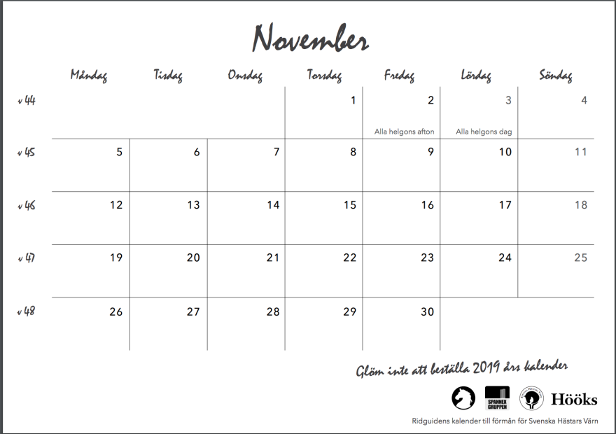 ridguidens kalender 2018, sid 25