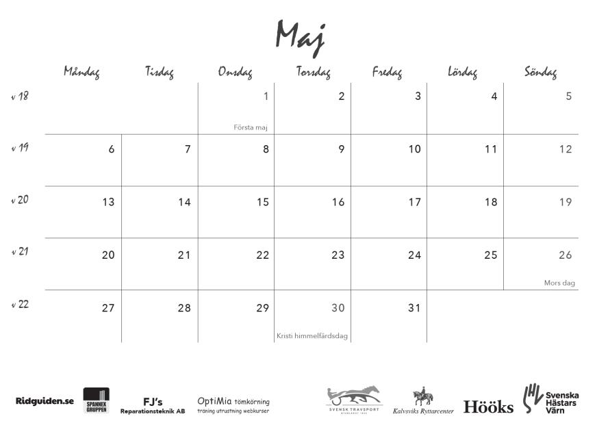 ridguidens kalender 2019, sid 13