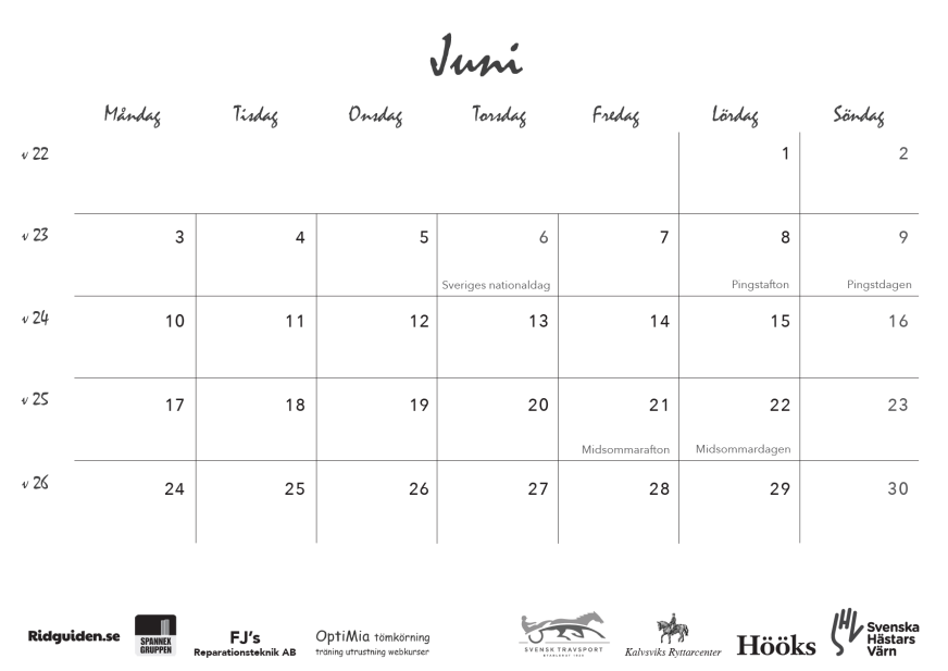 ridguidens kalender 2019, sid 15