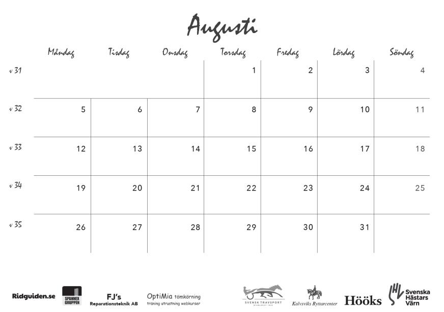 ridguidens kalender 2019, sid 19