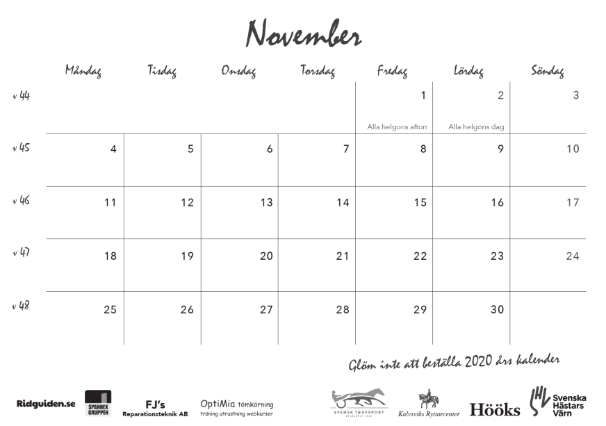 ridguidens kalender 2019, sid 25