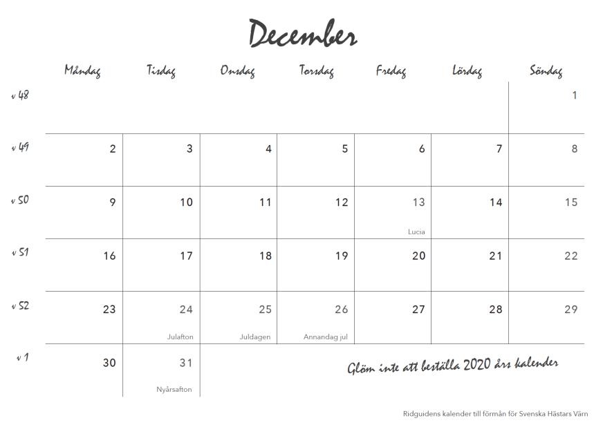ridguidens kalender 2019, sid 27