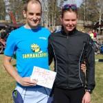 Fredrik och Jenni med legendarisk supporterskylt