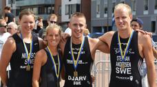 Mantra Sport: Svenska mästare i triathlon-stafett 2014 och 2015. Här är 2014-laget: Fr. v. Jenni Nilsson, Louise Nilsson, Oskar Djärv och Stefhan Andersen. Foto: Tommy Lindholm