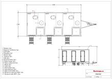 Dusch / Toalettvagn 3P - Vanligt avlopp