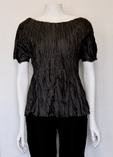CRINKLED SILK T-SHIRT - CRINKLED SILK T-SHIRT BLACK SMALL