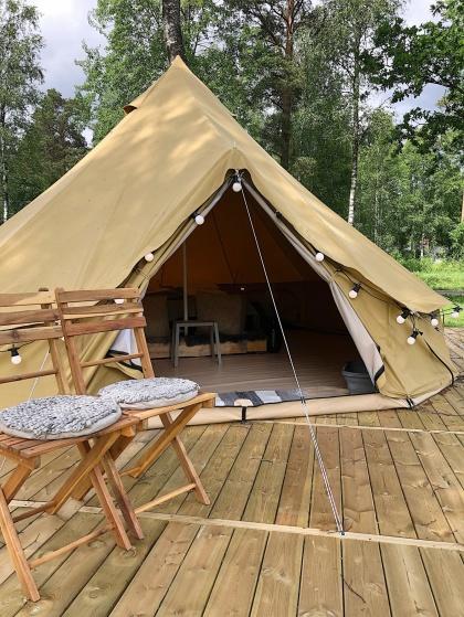 Boka lyxig glamping på natursköna Bexet Camping i Hallands inland, Hyltebruk