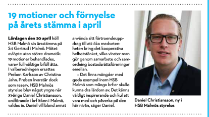 Daniel Christiansson invald i HSB Malmös styrelse.