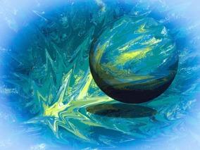 Big Bang - blå - Gicléetryck, 38x50 cm, ram 53x73 cm