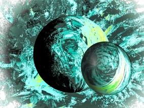 Galaxa - turkos - Gicléetryck 38x50 cm, ram 53x73 cm