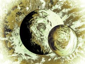 Galaxa - gold - Gicléetryck 35x50 cm, ram 53x73 cm