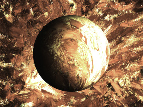Kometen - guld - Gicléetryck 35x50 cm, ram 53x73 cm