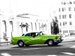 Ljudabsorbent - Havanna - grön bilglädje - Ljudabsorbent print 90x120x5 cm, svart metallram