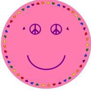 Matta rund - Smile - rosa